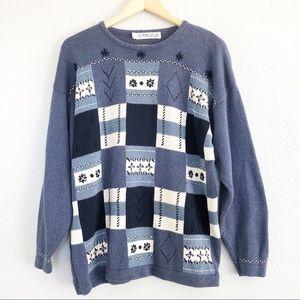 Vintage 90s Patterned Patchwork Knit Sweater L